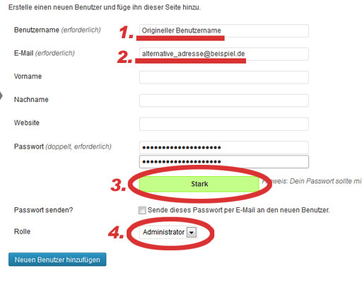 Wordpress: Neuen Benutzer anlegen